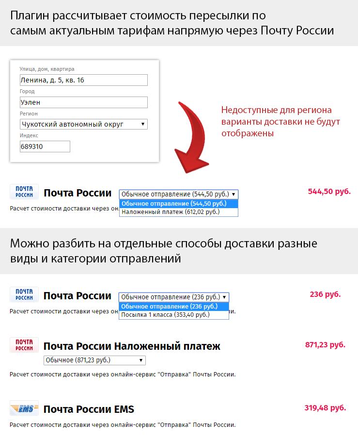 Почта россии рассчитать стоимость посылки наложенным платежом